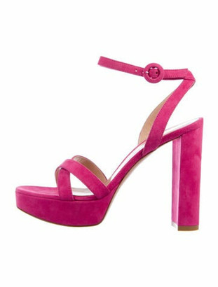 Gianvito Rossi Suede Cutout Accent Sandals Pink