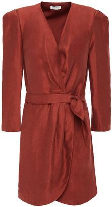 Sandro Vera Shantung Mini Wrap Dress