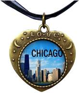 GiftJewelryShop Bronze Retro Style Chicago Heart Lover Moom Star Pendant Charm Necklaces