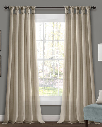 Triangle Home Fashion Burlap Knotted Tab Top Window Curtain Panels