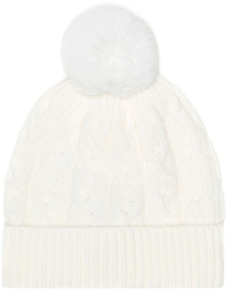 Loro Piana Kids Downy Cables fur-trimmed cashmere hat