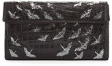 Christian Louboutin Painted Cranes Crocodile Clutch Bag, Black/Anthracite