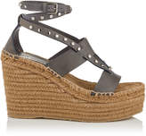 Jimmy Choo DANICA 110 Tan Vachetta Leather Wedge Sandals with Gold Studs