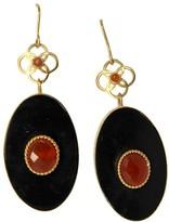 Mela Artisans Ziba Oval in Dark Horn/Red Onyx/Gold Earrings