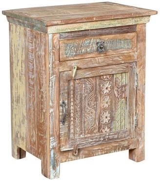 Taran Designs Aiden 1-Drawer, 1-Door Carved Nightstand, Left Door