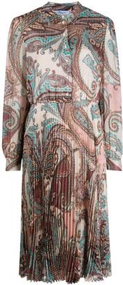 Blumarine Paisley Print Pleated Midi Dress