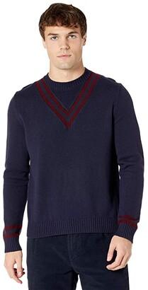 Eleventy Crew Neck Sweater w/ V Stripe Detail (Navy/Ruby) Men's Clothing