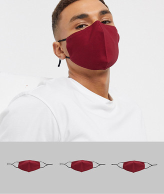 ASOS DESIGN 3 pack face covering with adjustable straps and nose clip in burgundy