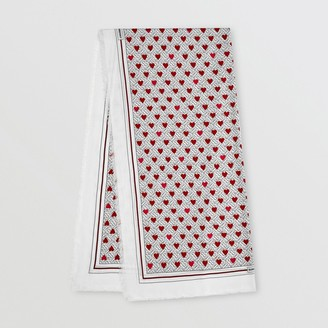 Burberry Monogram and Heart Print Cashmere Scarf