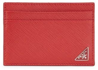 Prada Saffiano Triangle Card Case with Money Clip