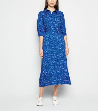 New Look Spot Puff Sleeve Midi Shirt Dress