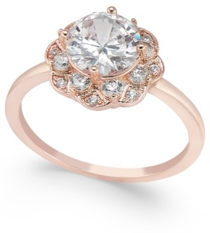 Charter Club Rose Gold-Tone Stone & Crystal Flower Ring, Created for Macy's