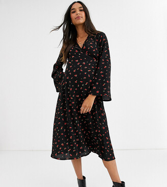 New Look Maternity wrap front midi dress in ditsy floral