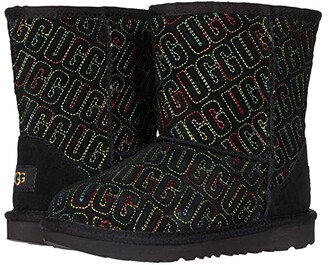 Ugg Kids Classic II Graphic Stitch (Toddler/Little Kid) (Black) Girls Shoes