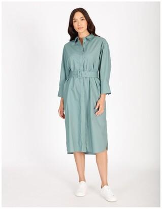Basque Poplin Shirt Dress
