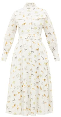 Emilia Wickstead Appolina Safari-print Belted Linen Shirt Dress - Cream Print