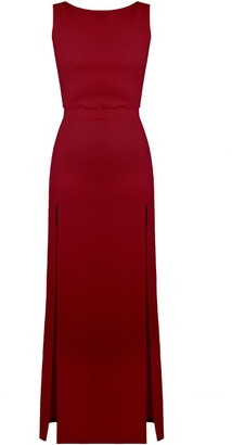 Undress Noa Deep Red Maxi Evening Dress With Front Splits