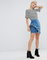 Asos Denim Mini Skirt with Raw Edge Ruffle in London Blue