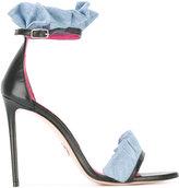 Oscar Tiye - denim trim sandals - women - Cotton/Leather/Nappa Leather - 37
