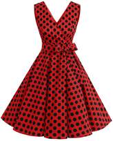 Dresstells® Vintage 1950s Solid Color V Neck With Bow Tie Retro Swing Dress S