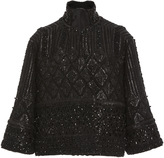 Sally LaPointe Swarovski Embroidered Bell Sleeve Jacket