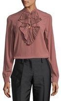 No.21 No. 21 Ruffle-Front Long-Sleeve Silk Shirt w/ Embellishments