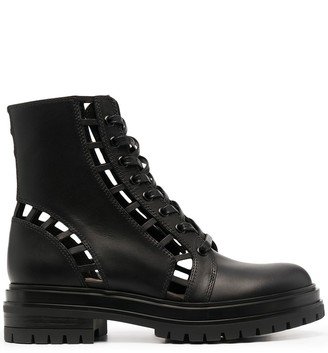 Gianvito Rossi Cut-Out Lace-Up Boots