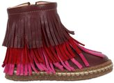 Ocra Leather Ankle Boots W/ Fringe