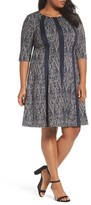 Gabby Skye Plus Size Women's Jacquard Knit A-Line Dress