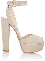 Prada Women's Suede Platform Sandals-TAN