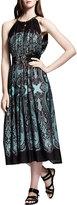 Lanvin Printed Cutaway-Shoulder Dress, Brown/Turquoise