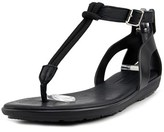 Hunter Elastic T-bar Sandal Women Open Toe Leather Black Thong Sandal.