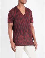 Etro Geometric-print Linen T-shirt
