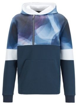 HUGO BOSS Abstract Print Hoodie With Asymmetric Quarter Zipper - Dark Blue