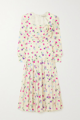 Alessandra Rich Bow-detailed Pleated Floral-print Silk-crepe Midi Dress - White