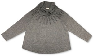 Style&Co. Style & Co Plus Size Cowlneck Fringed Sweater, Created for Macy's