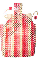 Rafe Wooden Beaded Wristlet Pouch Bag
