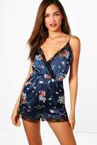 boohoo Tall Mille Floral Print Satin Lace Trim Teddy