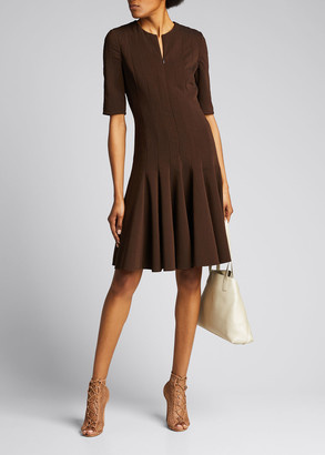 Akris Pleated-Crepe 1/2-Sleeve Dress, Mahogany