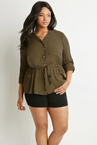 Forever 21 Plus Size Two-Pocket Hooded Top