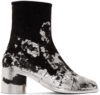 Maison Margiela Black and Silver Suede Tabi Boots