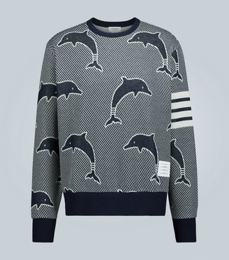 Thom Browne 4-Bar Dolphin jacquard sweater