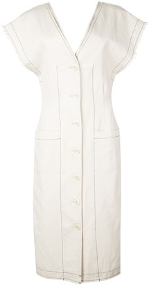 Proenza Schouler White Label Cotton Linen Short Sleeve Button Front Dress