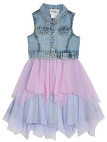 Rare Editions Little Girls Denim Dress with Mesh Skirt