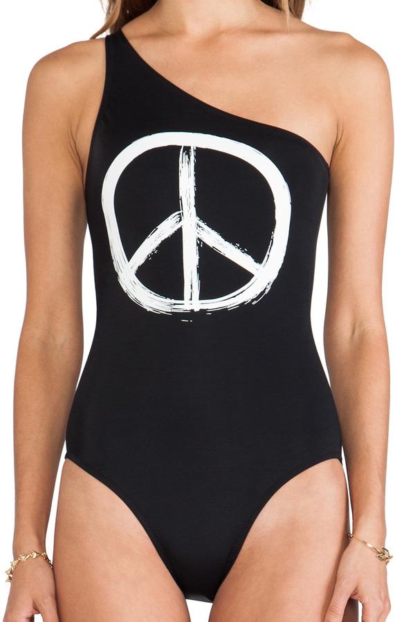 Norma Kamali KAMALIKULTURE Peace Graphic One Shoulder One Piece