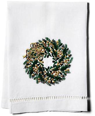 Hamburg House Evergreen Wreath Linen Guest Towel