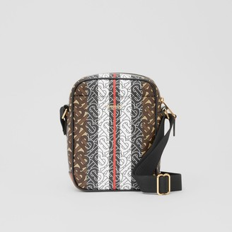 Burberry Monogram Stripe Print E-canvas Crossbody Bag