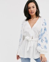 Asos Design DESIGN embroidered top with kimono sleeve and belt