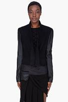 Damir Doma Black Alpaca Leather Sleeve Jacket