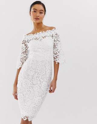 Paper Dolls off shoulder crochet dress with frill sleeve in white